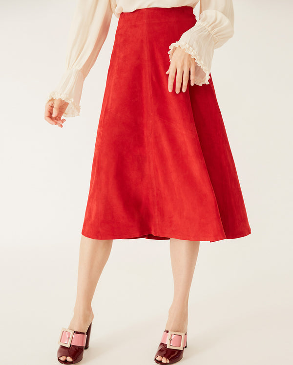 Suede Midi Skirt Ruby Red