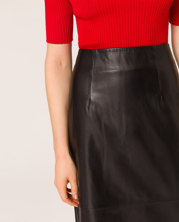 Nappa Pencil Skirt Black