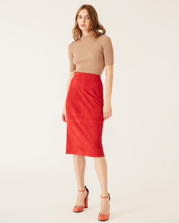 Suede Pencil Skirt Ruby Red