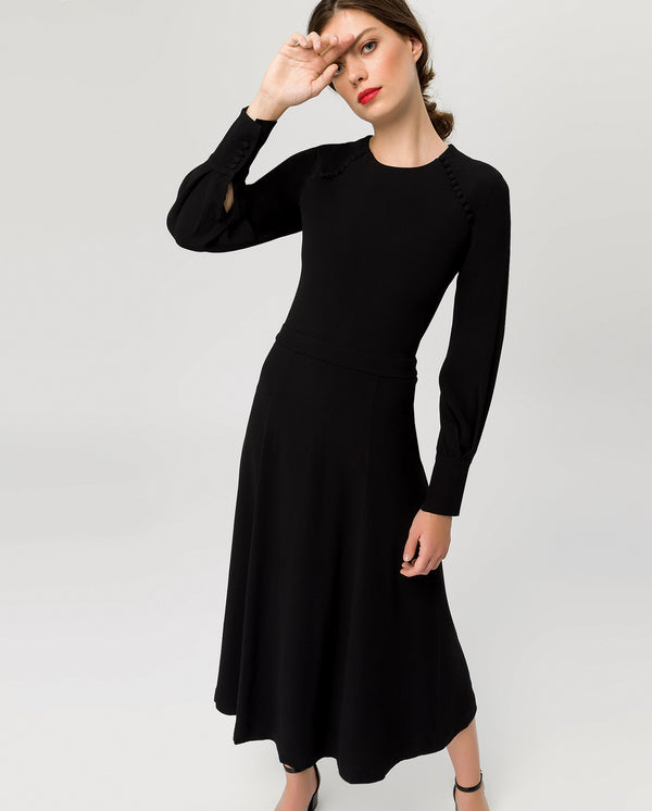 Button Midi Dress Black