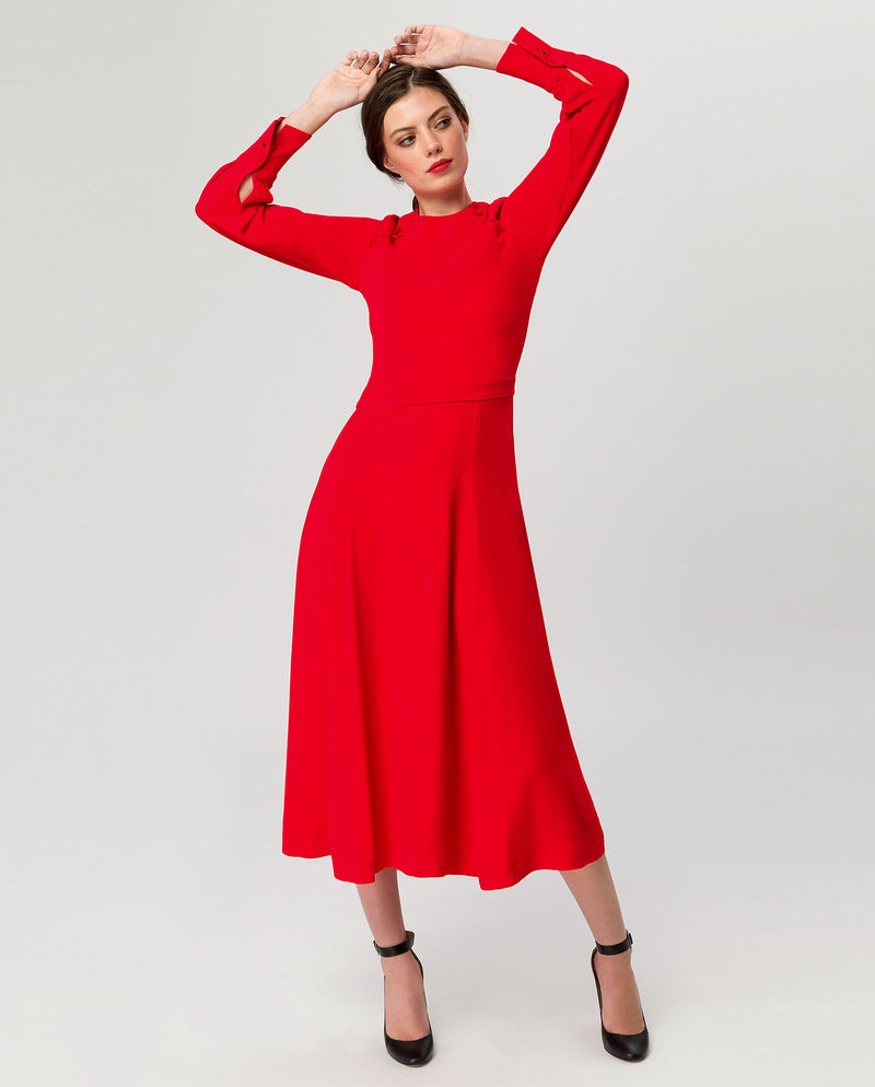 Button Midi Dress Fire Red