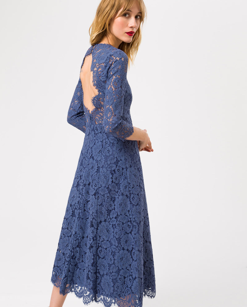 Lace Flared Dress Midi