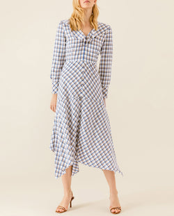 Asymmetric Valance Midi Dress Snow White Check