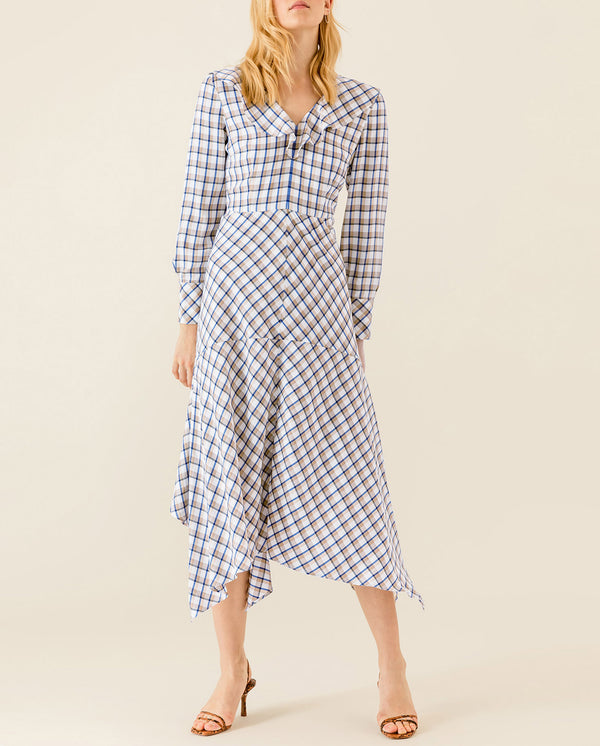 Asymmetric Valance Midi Dress checked