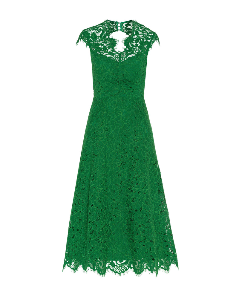 Cap Sleeve Lace Dress Secret Garden Green