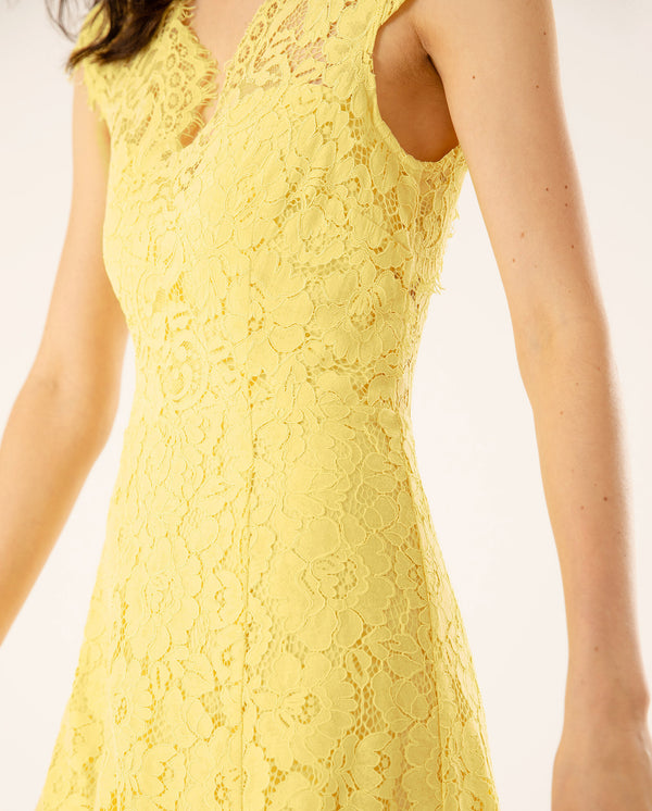 Cap Sleeve Lace Dress Sunshine Yellow