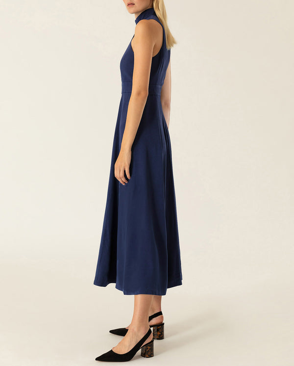 American Shoulder Midi Dress True Blue