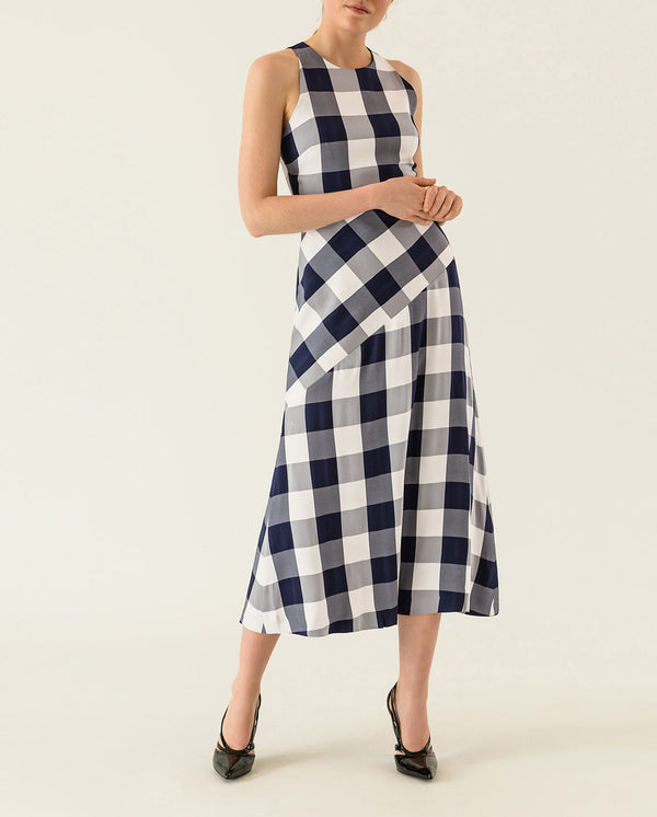 Checked Midi Dress Navy Blue Gingham