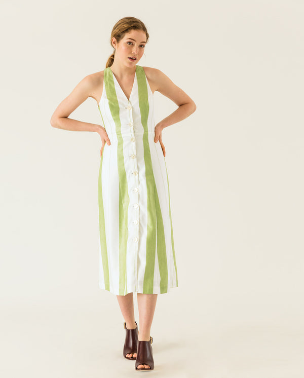 Buttoned Dress Moss Green