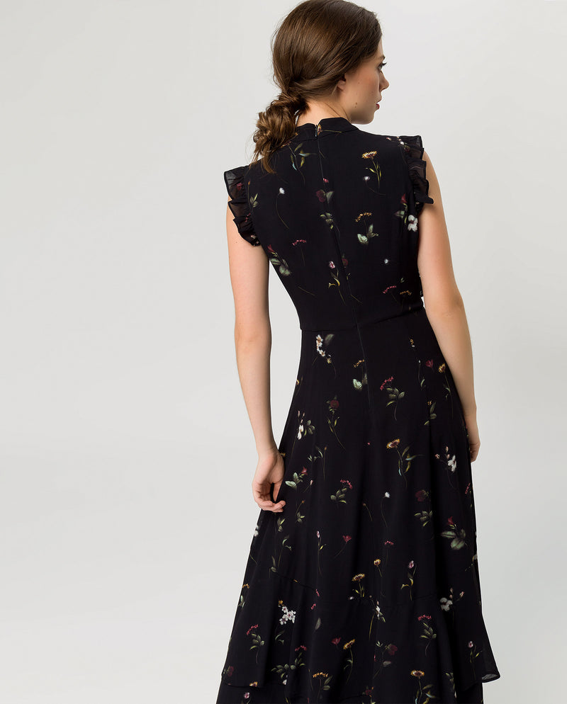 Ruffled Evening Maxi Dress Black