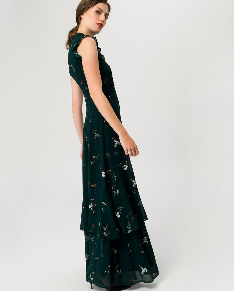 Ruffled Evening Maxi Dress Bottle Green