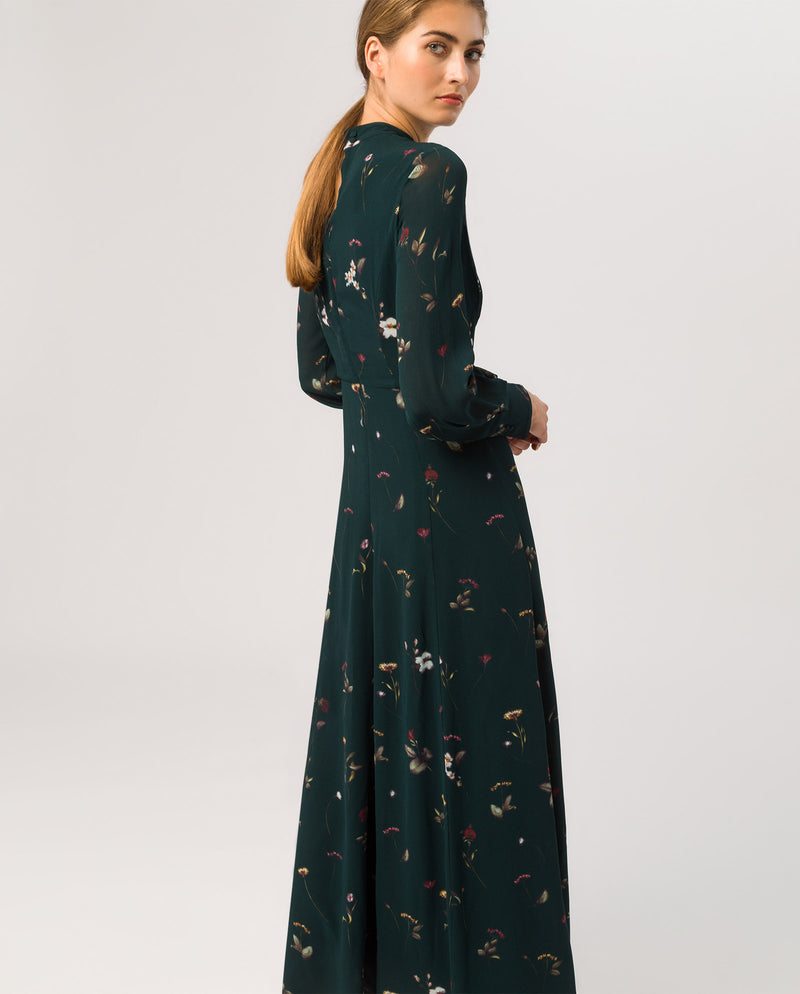 Stand-Up Collar Maxi Dress Bottle Green