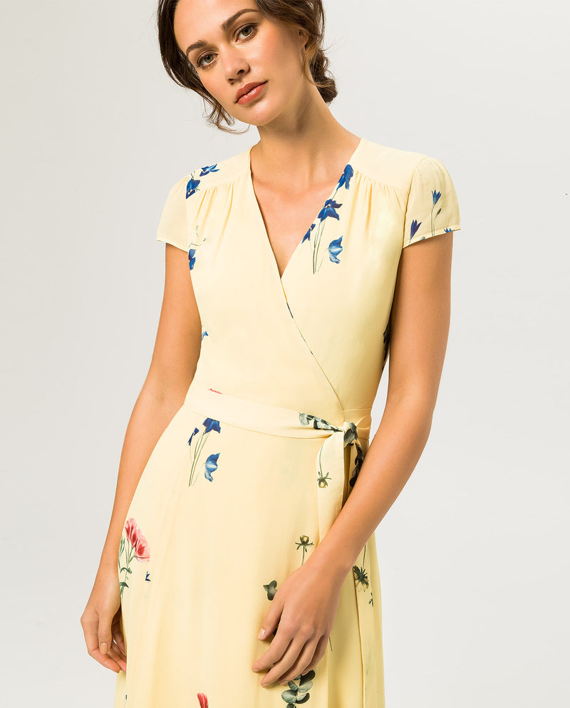 Wrap Dress Cap Sleeve Volant