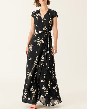 Long Printed Wrap Dress Black