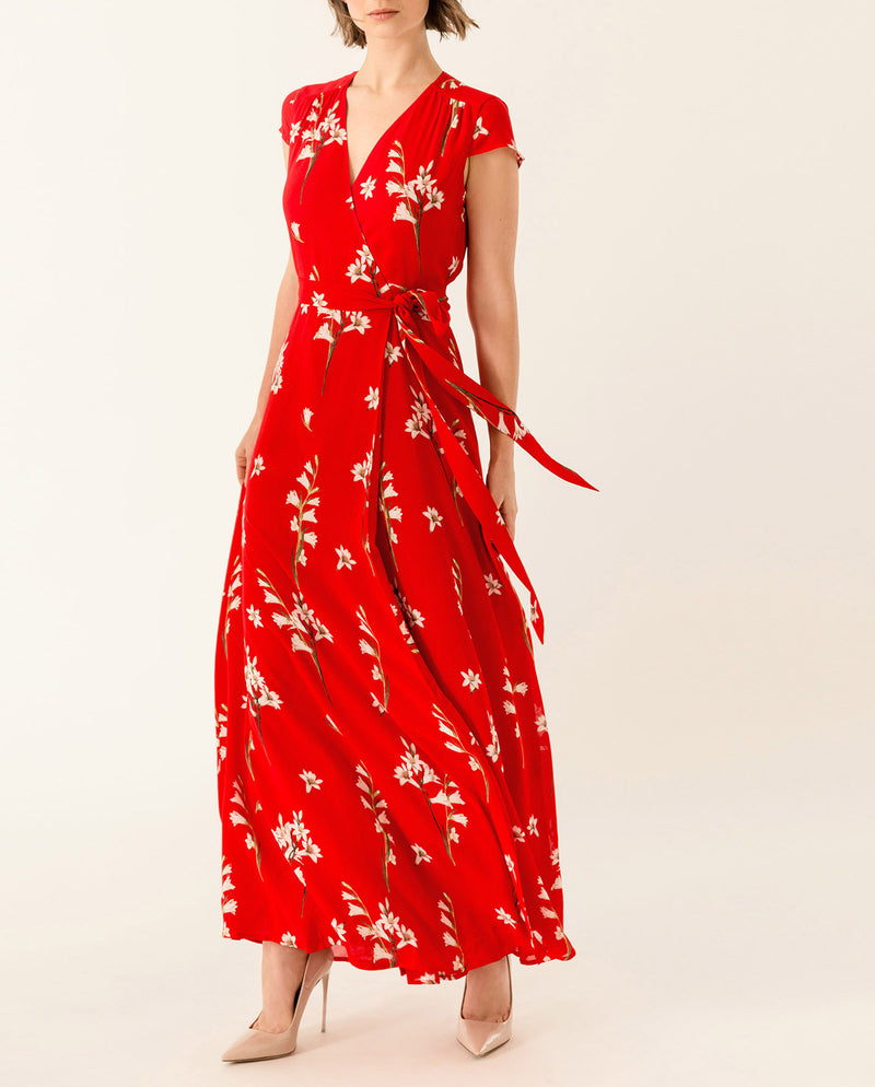 Long Printed Wrap Dress Lovers Red