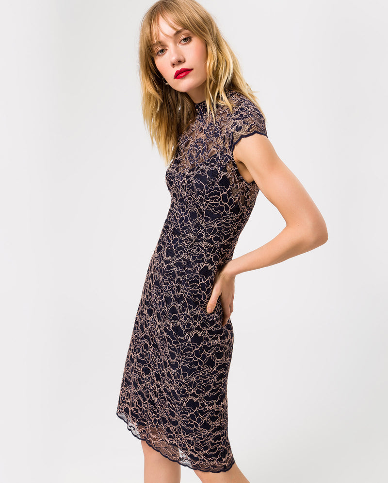Stand-Up Collar Lace Cocktail Dress