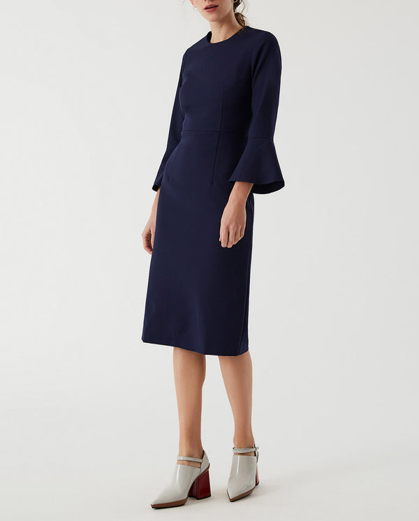 Volant Sleeve Dress True Blue