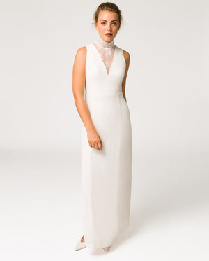 Deep V-Neck Bridal Evening Dress
