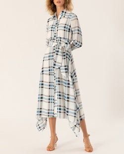 Asymmetric Shirt Dress Snow White Check