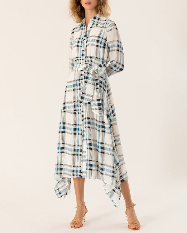 Asymmetric Shirt Dress checked