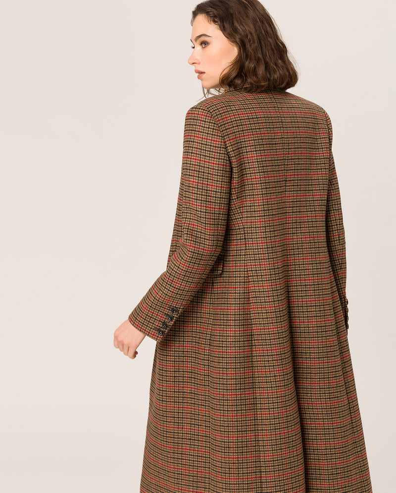 Check Maxi Coat Camel Check