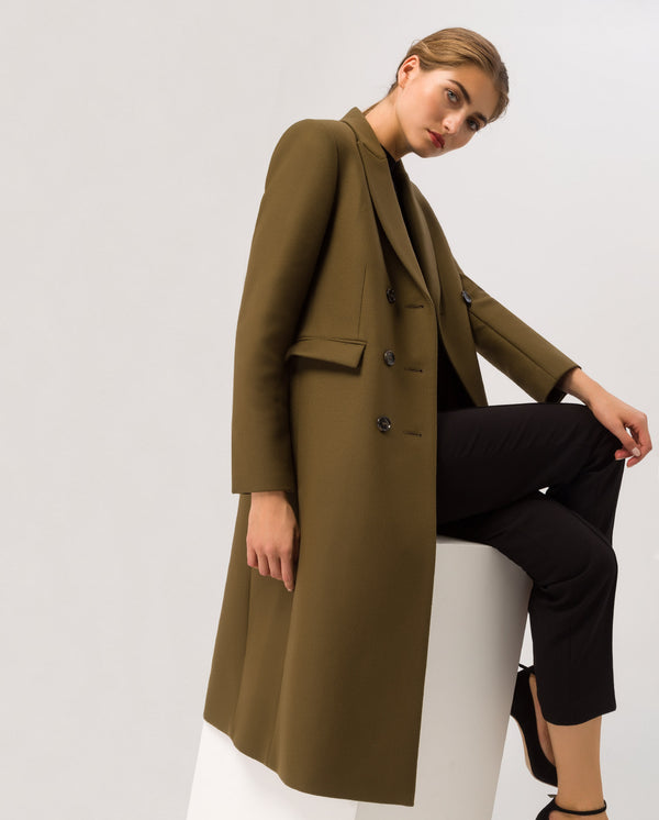Classic Double Breasted Coat Military Green