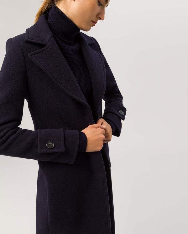Wide Lapel Coat Navy Blue
