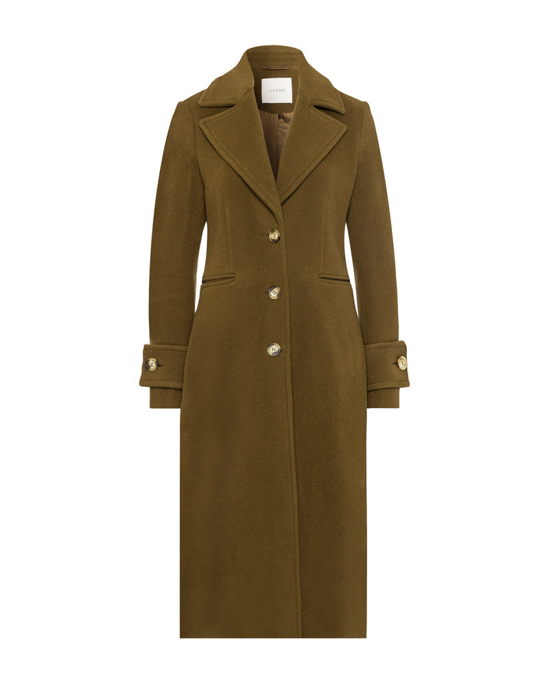 Wide Lapel Coat Military Green