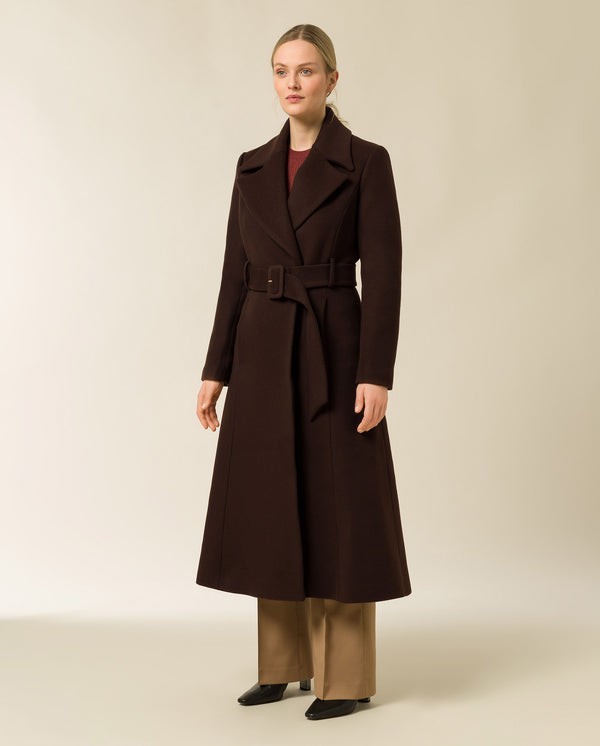 Coat with Statement Collar and Belt brown