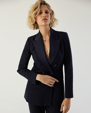 Double-Breasted Tuxedo Blazer Navy Blue