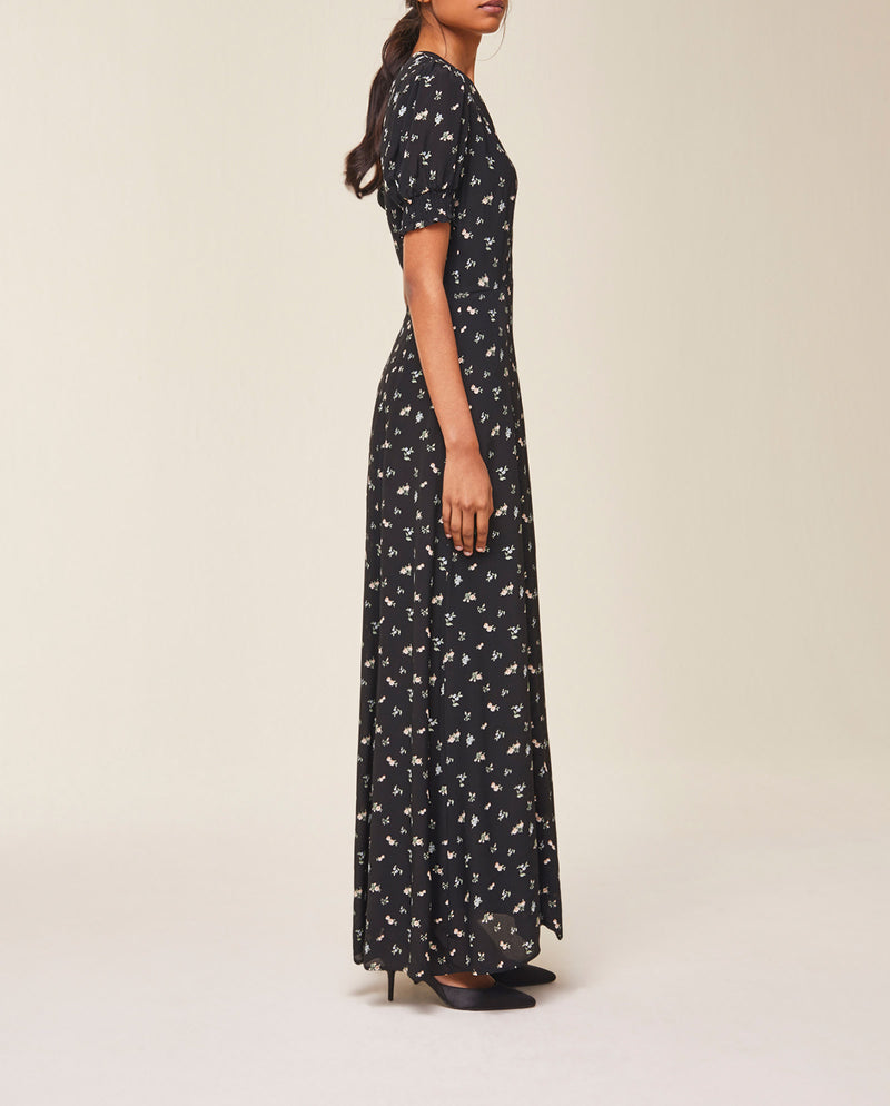 Maxi Dress with puffy Sleeves Black