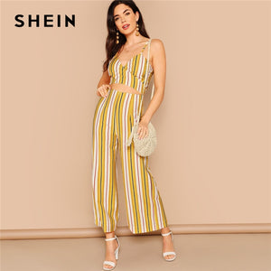 c5e9ab879a SHEIN Boho Multicolor Striped Crop Wrap Cami and Wide Leg Pants Set Women  Summer Knot Back
