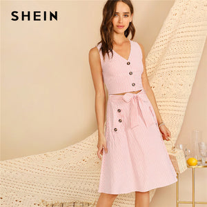 d38ee92596 SHEIN Boho Pink V-neck Button Front Striped Slim Fitted Crop Top and Belted  Midi