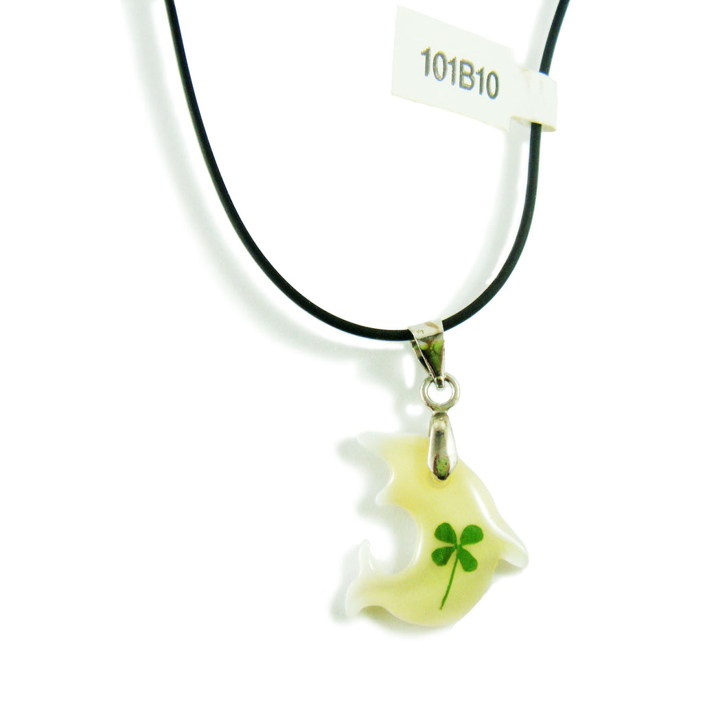 Real Lucky Clover Necklace Whale Shape (101B10)
