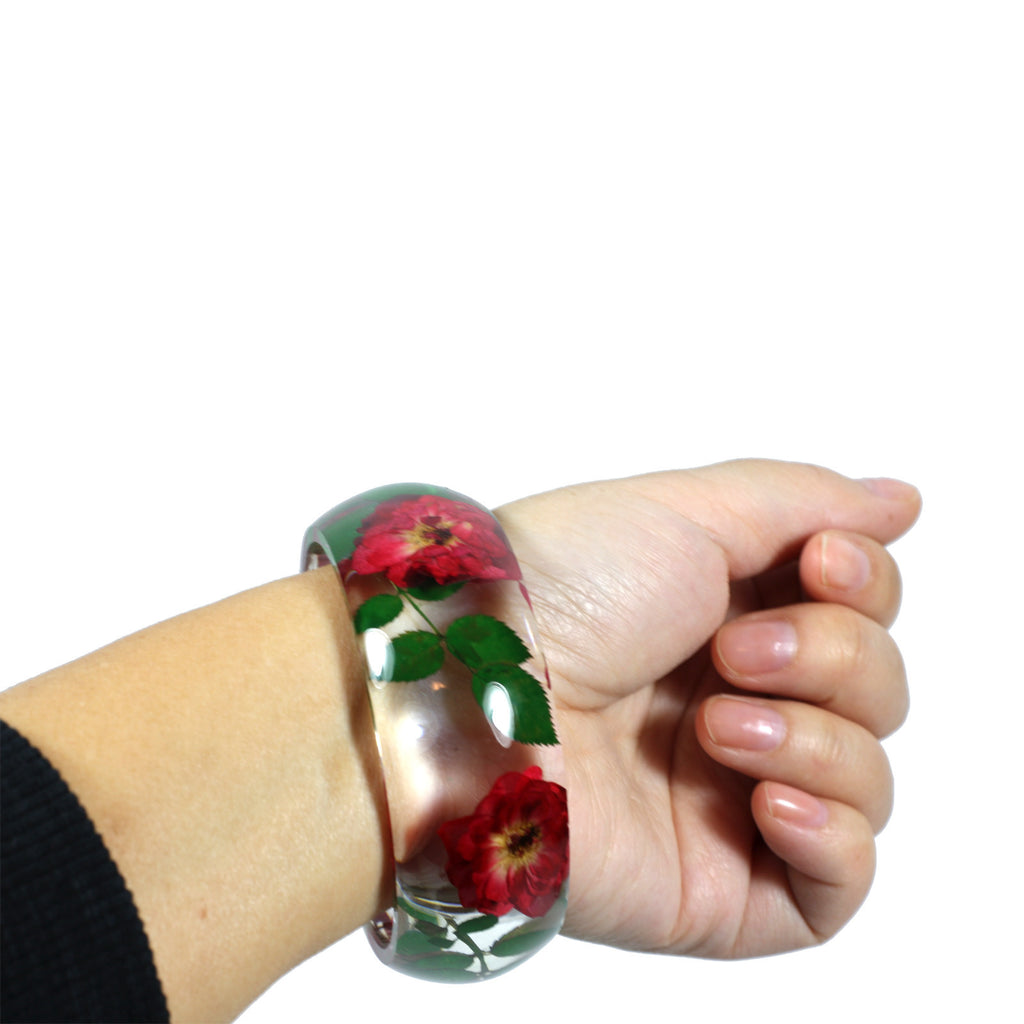 BG2641<br/> REAL ROSE RESIN BANGLE