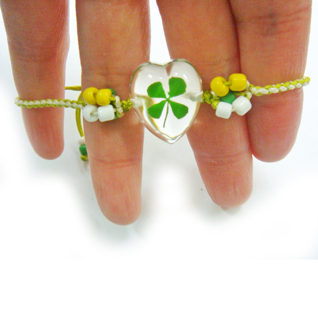 Real Lucky Clover Bracelet Heart Shape (312H01)
