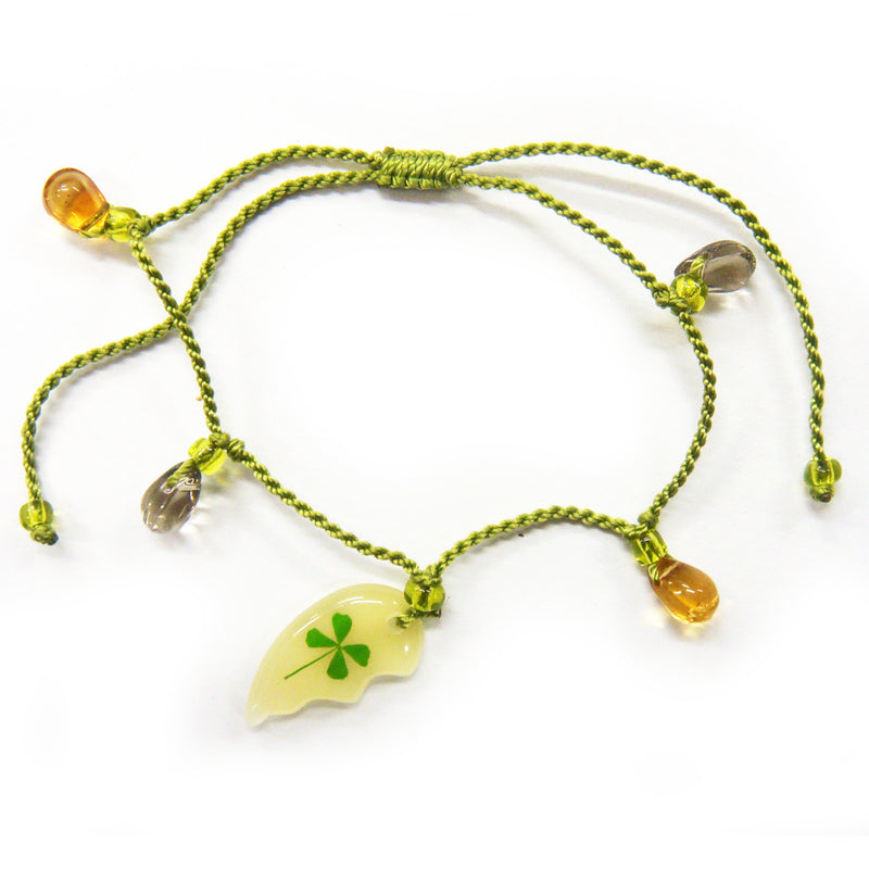 Real Lucky Clover Bracelet Broken Heart Shaped  (314D08)