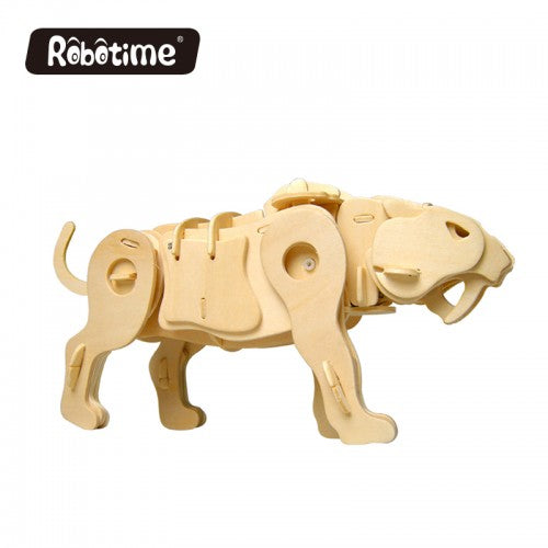 3D Wooden Jigsaw Puzzle Sound Control Saber-toothed Tiger
