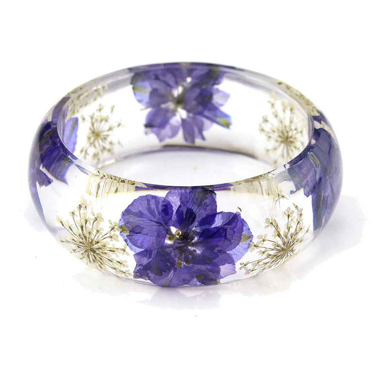 Real Purple Larkspur White Baby's Breath Resin Bangle (BG2531)