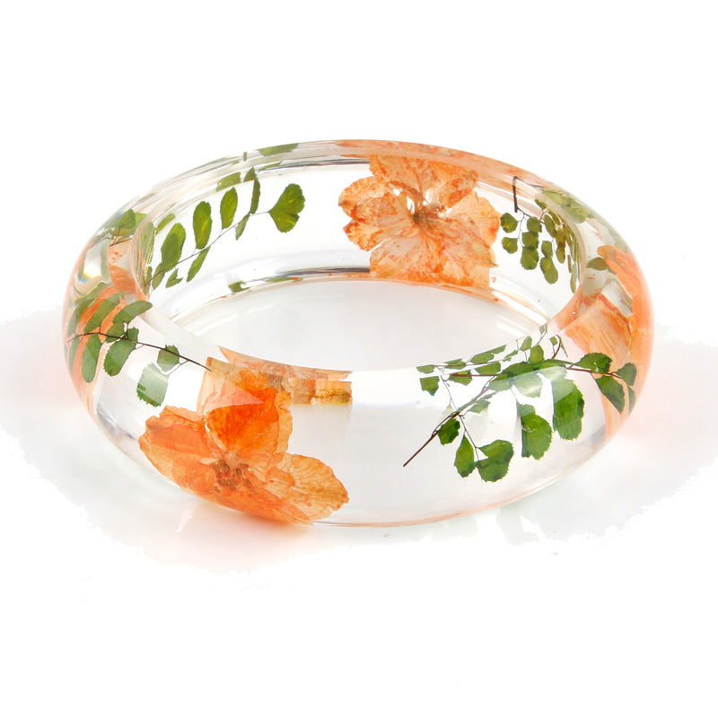 Real Orange Larkspur  & Rue Leaves Resin Bangle  (BG2532)