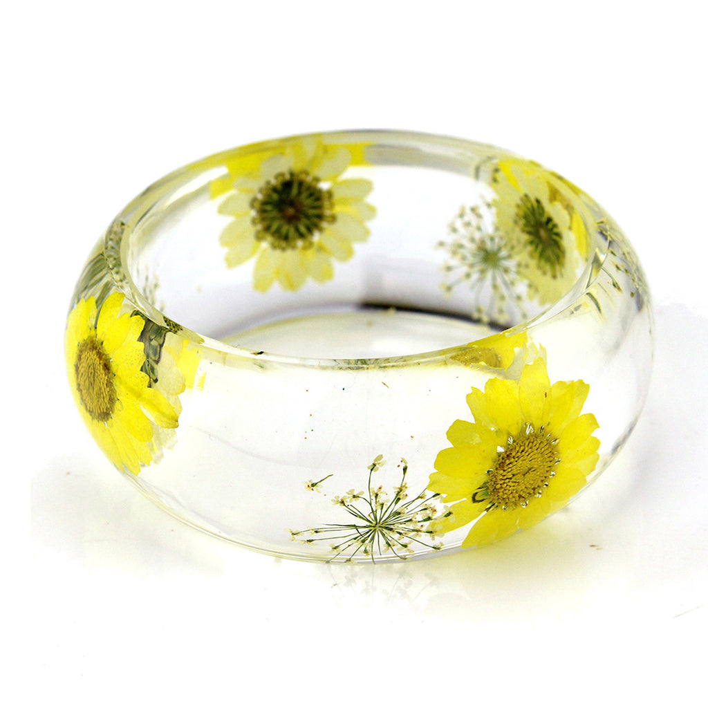 BG2533<br/>REAL YELLOW DAISY BANGLE