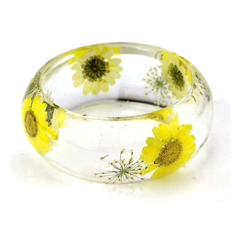 Real Yellow Daisy White Baby's Breath Resin Bangle (BG2533)