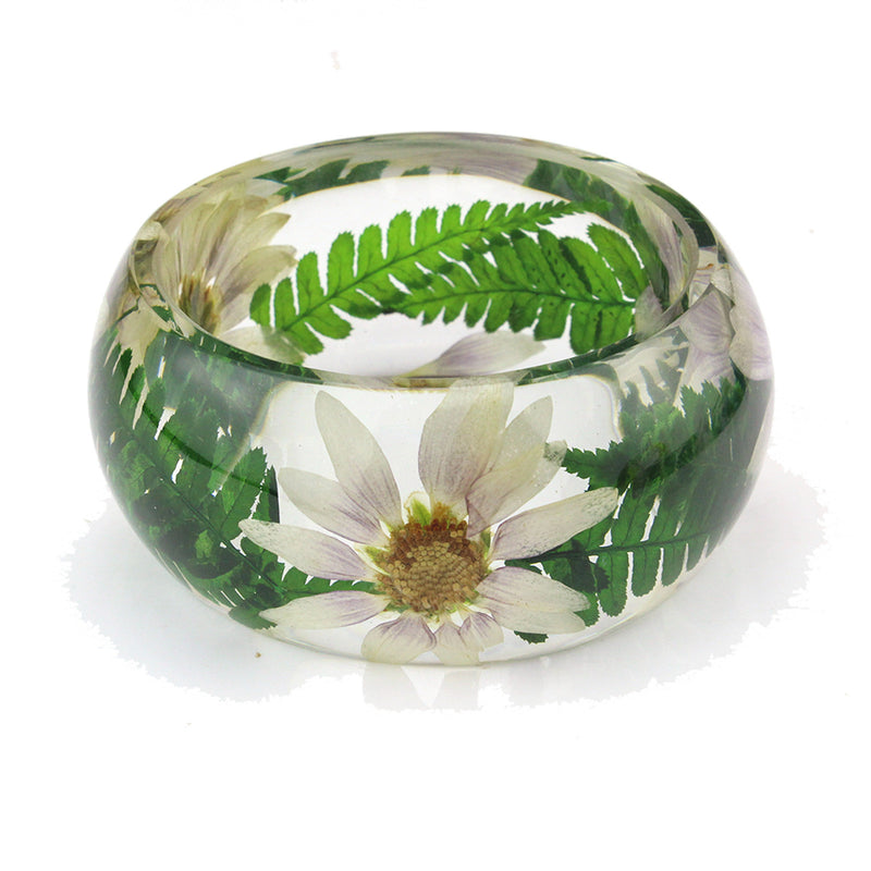 Real marigold and fern leaves bangle  (BG2534)