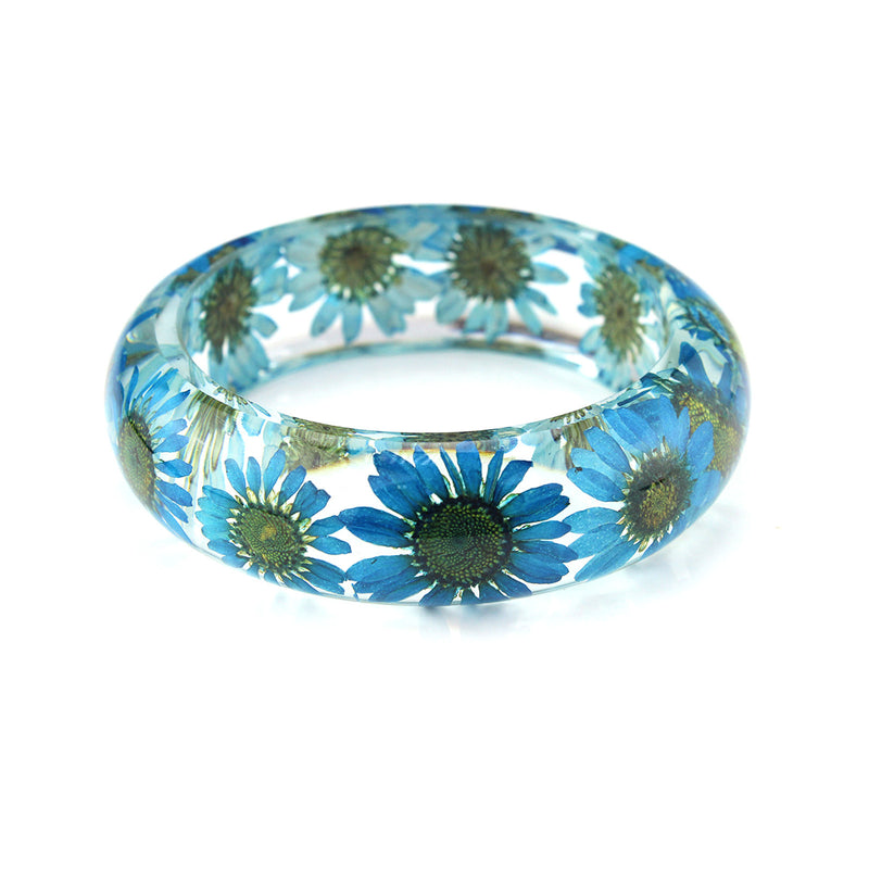 Real Blue Daisy Resin Bangle   (BG2535)