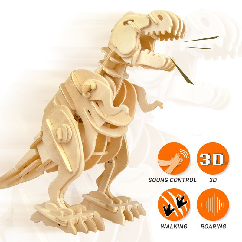 3D Wooden Jigsaw Puzzle Remote-control T-Rex