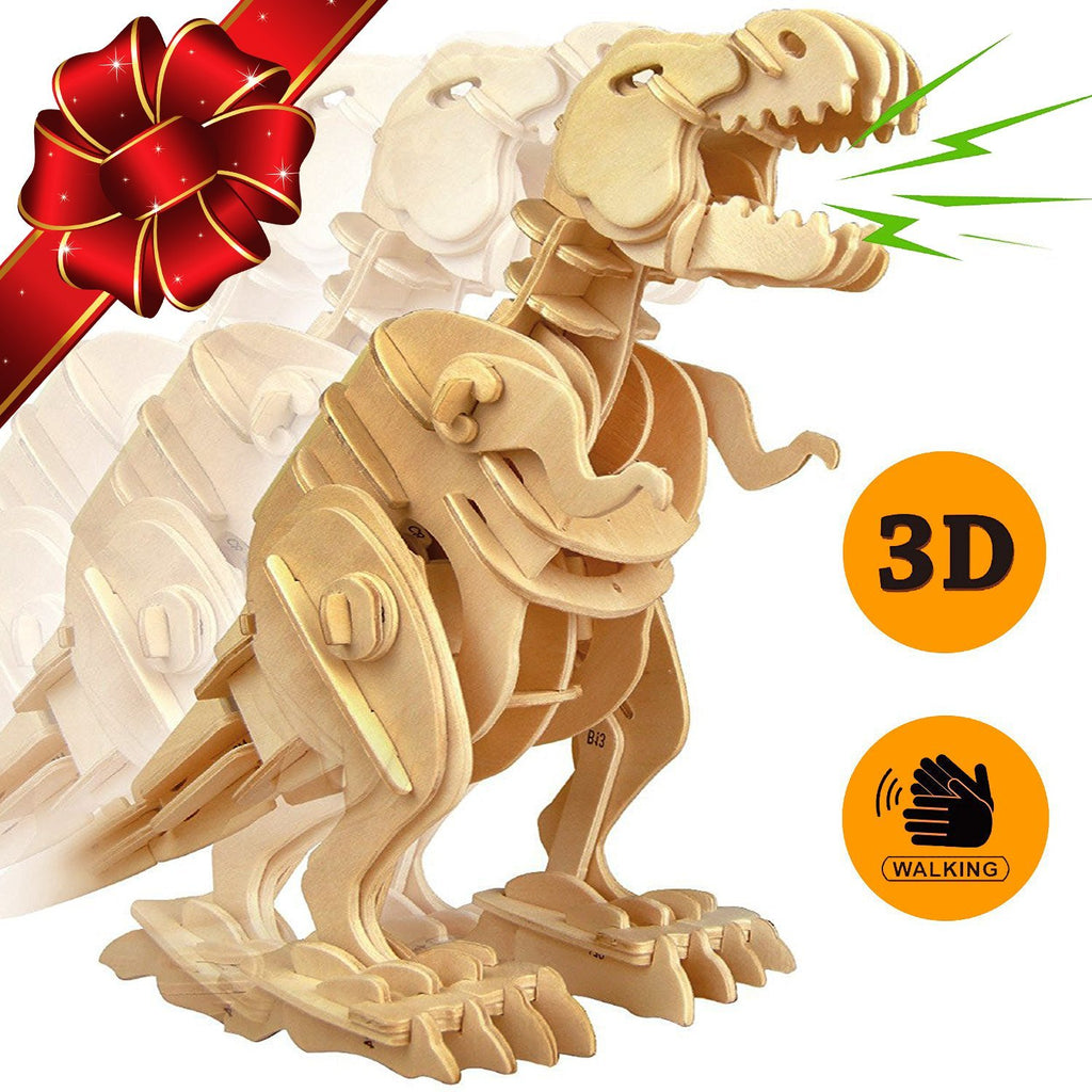 3D Wooden Jigsaw Puzzle Sound-control Walking T-Rex