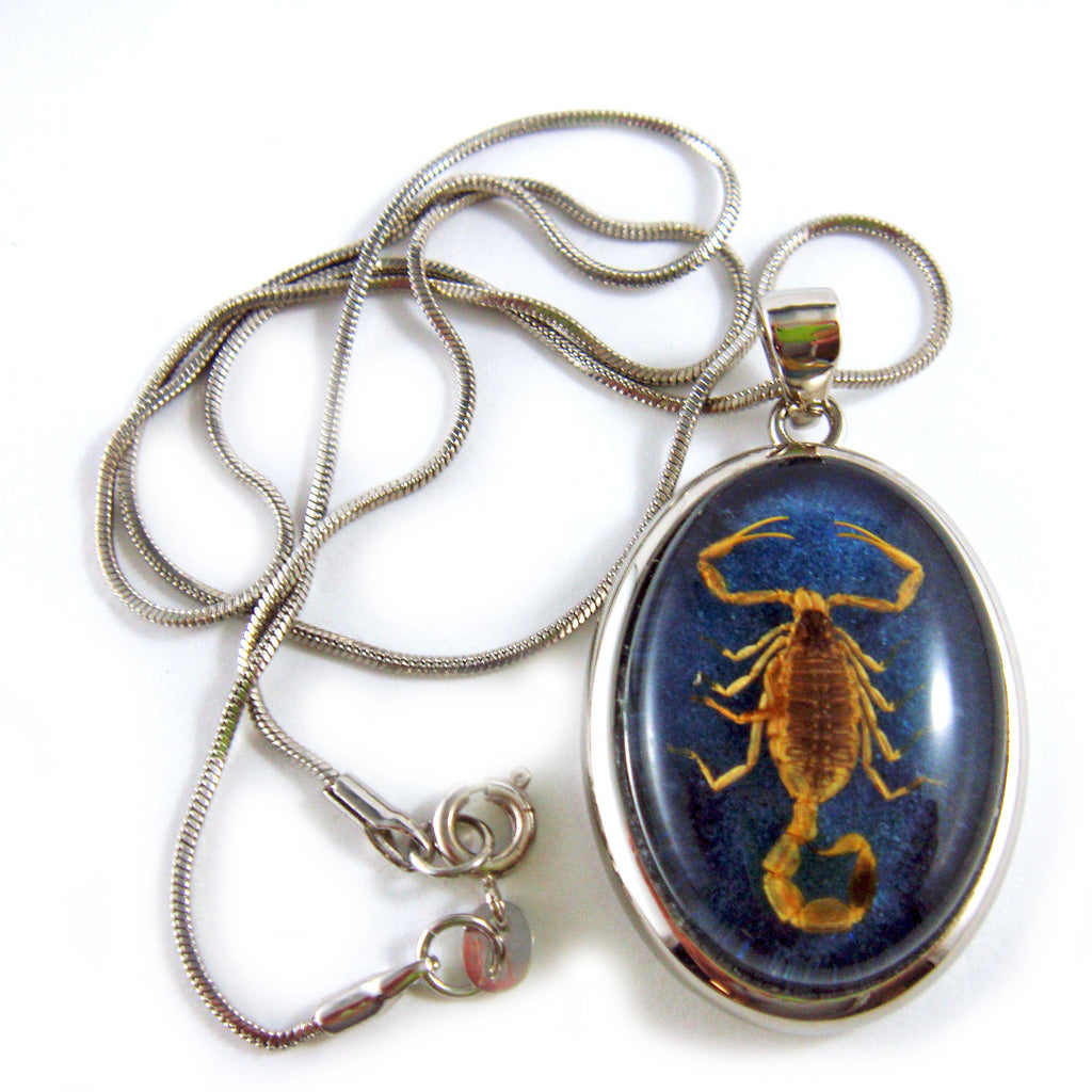 Golden Scorpion Oval Necklace Dark Blue (DJ0618)
