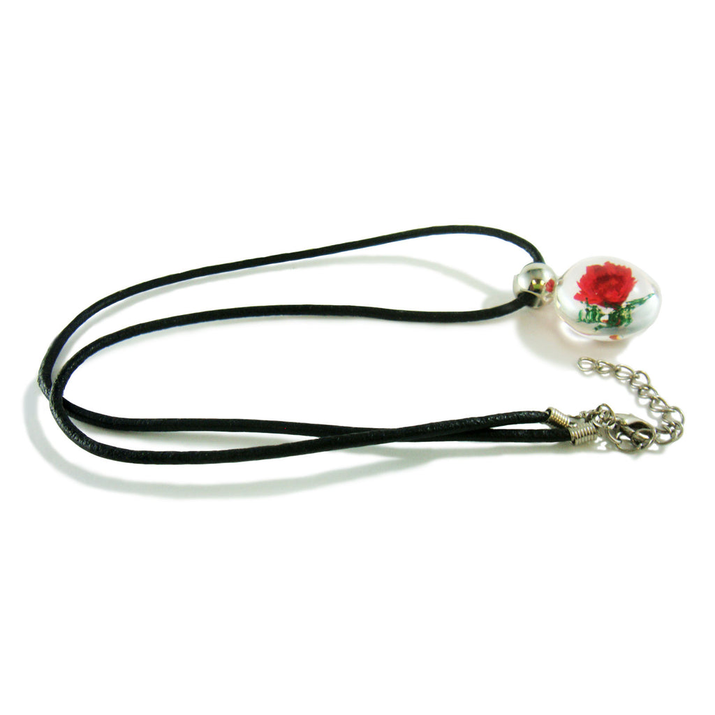 Red Flower Necklace Round Shape (FSD107)