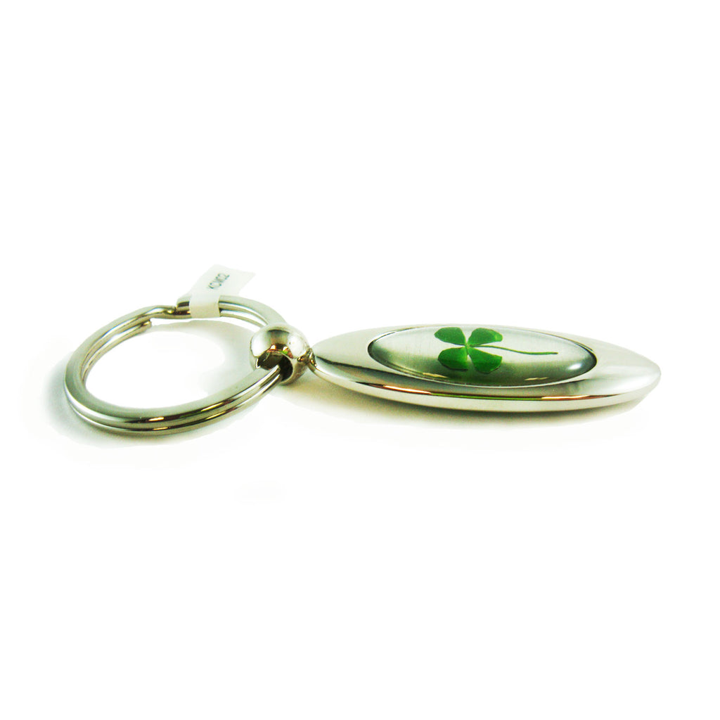 Real Lucky Clover Keychain Long Tear Drop Shaped (KCM02)