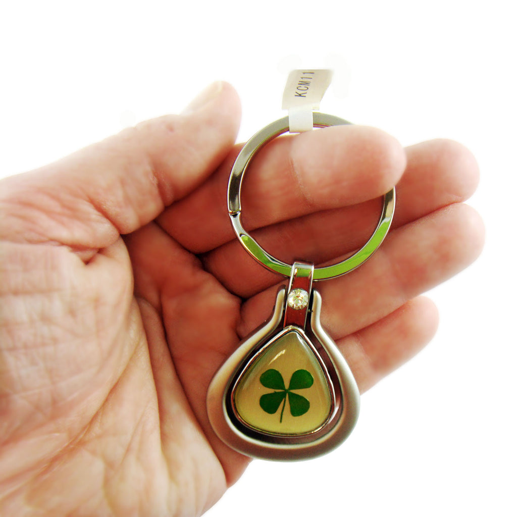 Real Lucky Clover Keychain Tear Drop Shaped (KCM11)